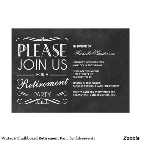 retirement dinner invitation template vintage chalkboard retirement card retirement