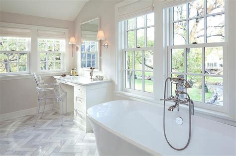 see through bathroom floor white master bath with built in makeup vanity and ghost