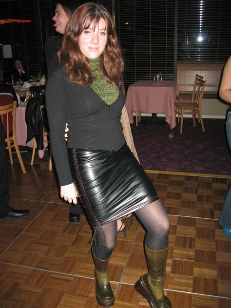in skin tight leather skirt comments