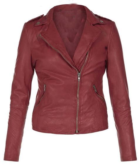 Jaket Marron s leather jacket womens maroon color leather jacket
