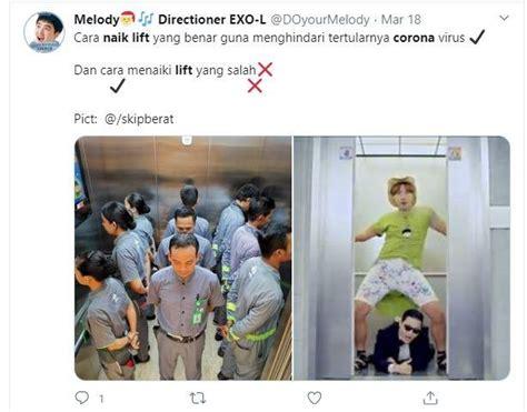 heboh wabah corona  meme naik lift  bikin netizen