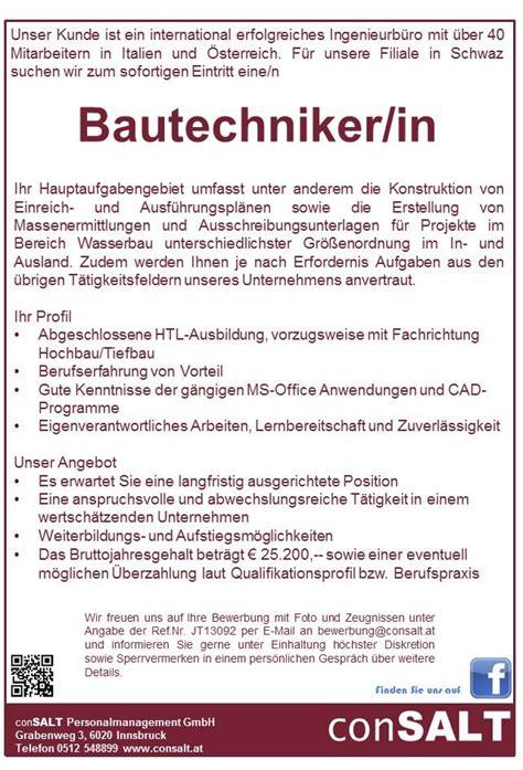 Bewerbung Hinweis Auf Diskretion Bautechniker In Schwaz Aus Tirol