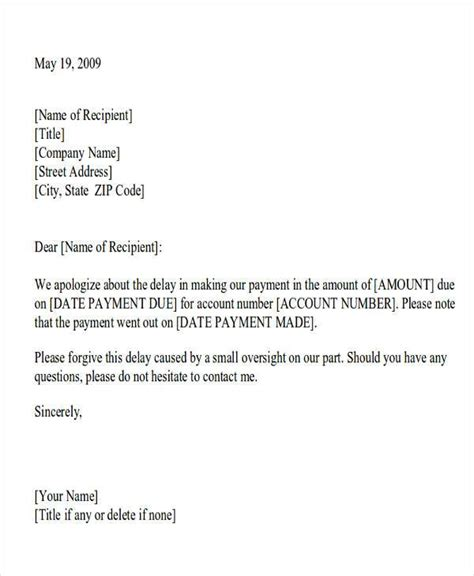 business letter apology for late payment formal apology letters