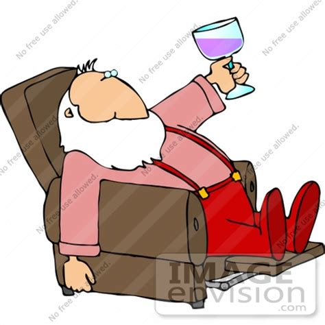 recliner clipart santa drinking wine in a recliner clipart 12511 by