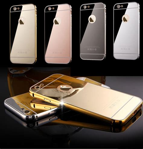 2 In 1 Metal Iphone 6 for iphone6 24k gold plating for iphone 6 6plus luxury metal button mirror back cover