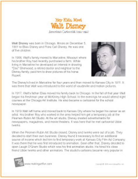 biography information for students walt disney printable biography for kids walt disney