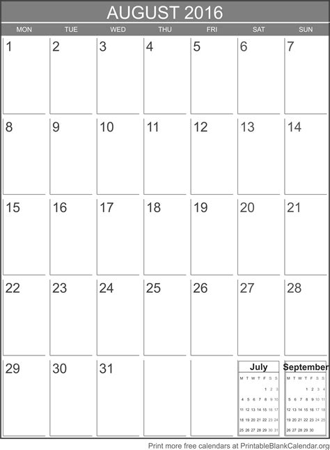 printable calendar august printable calendar august 2016 printable blank calendar org
