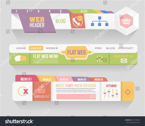 header menu design exles flat style vector header horizontal web menu design