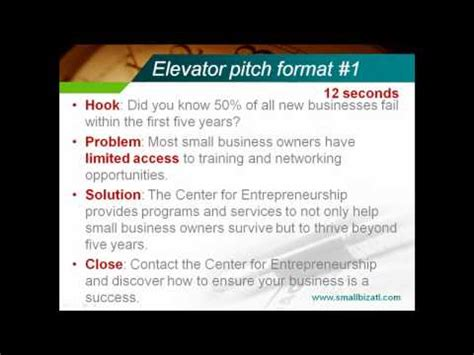 30 second pitch template 30 second elevator pitch speech