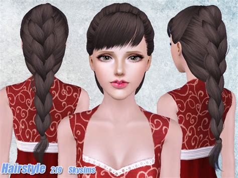 hair 217 by skysims sims 3 downloads cc caboodle voluminous braided hairstyle 219 by skysims sims 3 hairs