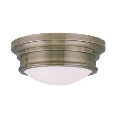 Antique Flush Mount Ceiling Light Shop Livex Lighting Astor 15 5 In W Antique Brass Ceiling Flush Mount Light At Lowes