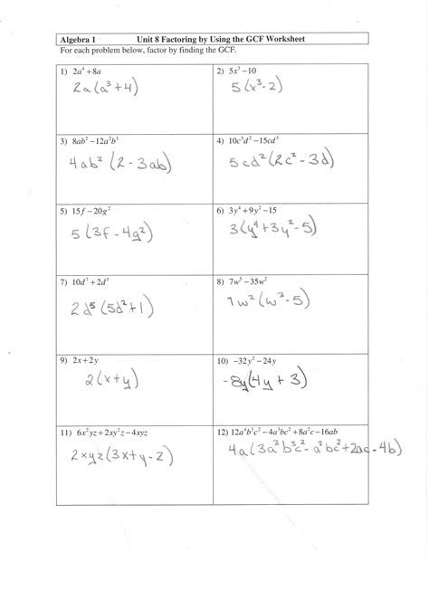 Factoring Worksheet Answers by Factoring Gcf Worksheet And Answers Math 10