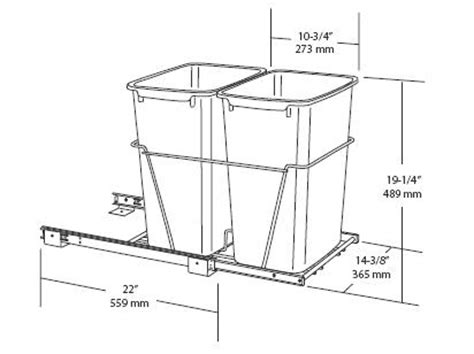 trash can drawer dimensions waste baskets rta kitchen cabinets