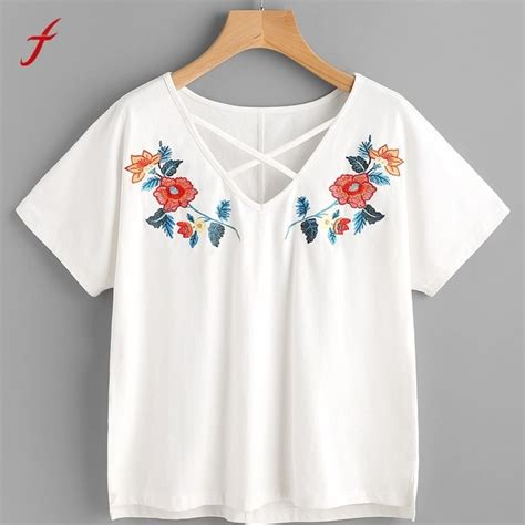 Flower Sleeve T Shirt flower embroidery shirt sleeve tees