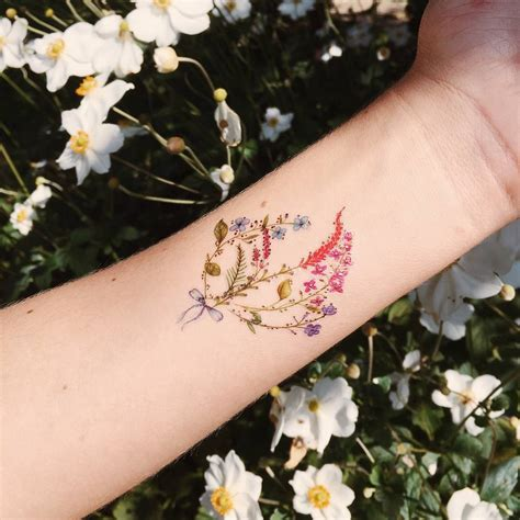 bouquet tattoo mini bouquet temporary by paperself