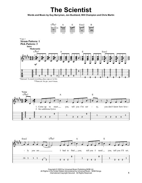 coldplay the scientist chords the scientist sheet music by coldplay easy guitar tab