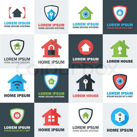 home security logos set flat stylized vector logos