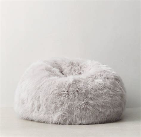 white fluffy chair uk restoration hardware kashmir faux fur bean bag