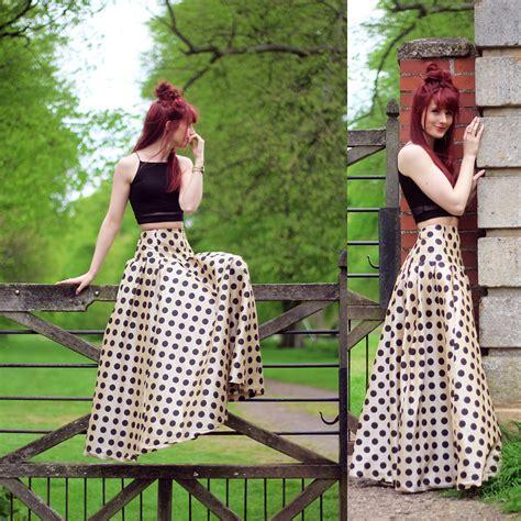 megan g shabby apple maxi skirt missguided crop top polka dot lookbook