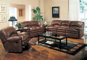 best duel reclining sofa loveseat chair set brown leather