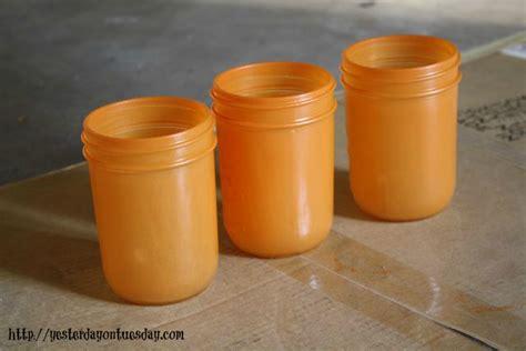 light orange spray paint pumpkin vases yesterday on tuesday