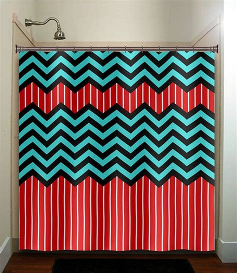 red and aqua curtains red stripe aqua blue chevron shower curtain bathroom decor
