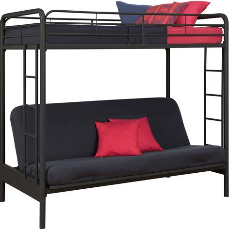 bunk beds with a futon twin over futon metal bunk bed bm furnititure