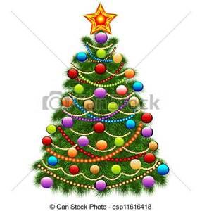 vector clip art of of the christmas tree decorated with