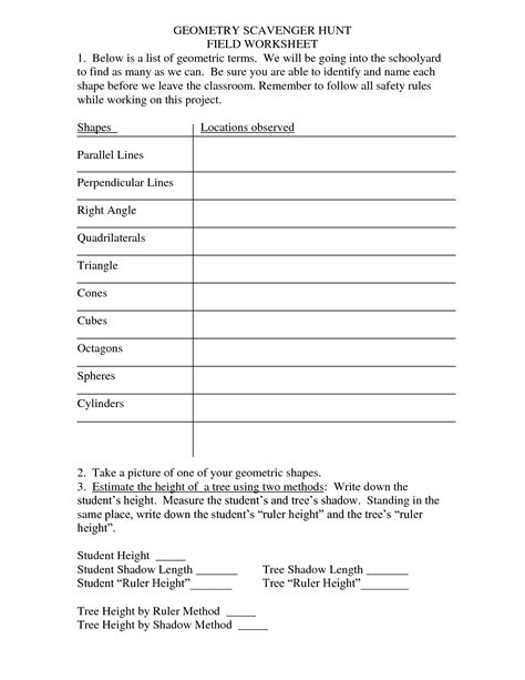 Scavenger Hunt Worksheet by 14 Best Images Of Cubes And Cylinders Worksheet Surface