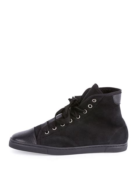 shearling lined sneakers lanvin shearling fur lined leather sneakers in black lyst