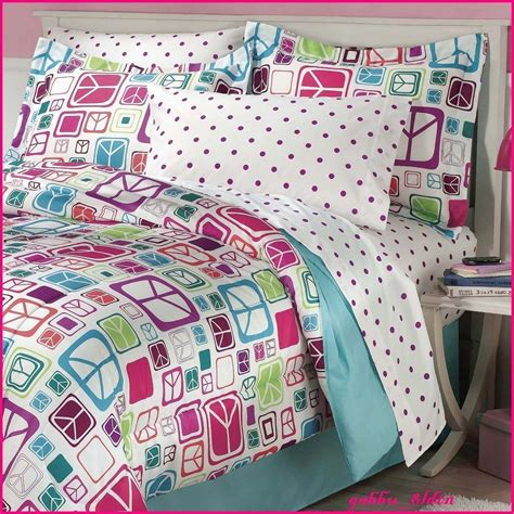 girls bedding sets full pink blue peace signs teen girls twin full reversible