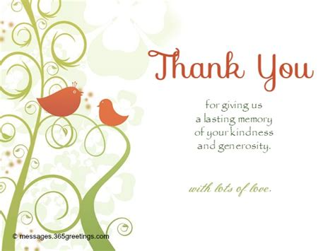 thank you templates for gift cards wedding thank you messages 365greetings