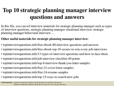 top 10 strategic planning manager questions and
