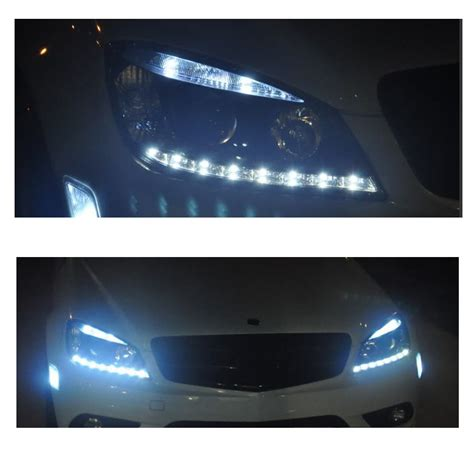 mercedes led headlights 08 11 m c class w204 led drl projector headlights