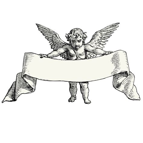chubby cherub angel with a large memorial banner tattoo