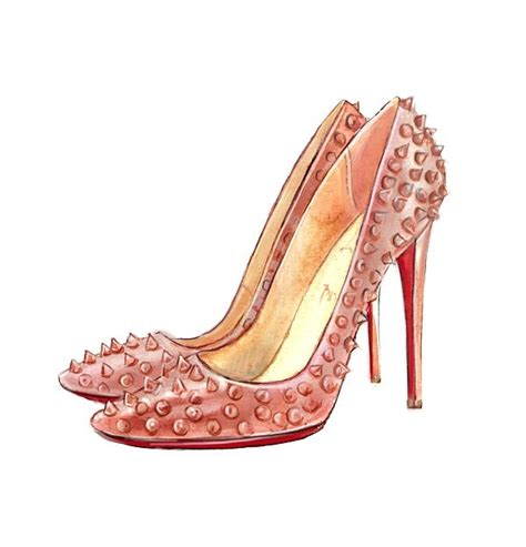 fashion illustration shoes christian louboutin shoes watercolor illustration