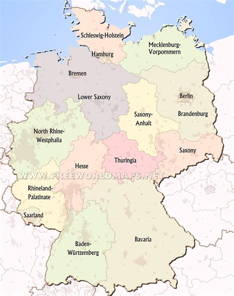 states germany map germany political map
