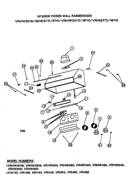 viking range parts diagram viking range corp interior power wall rangehoods parts