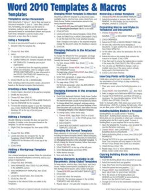 quick reference guide templates for word microsoft word 2010 templates macros quick reference
