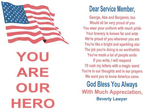 template for sending a card to a veteran a million thanks send a letter