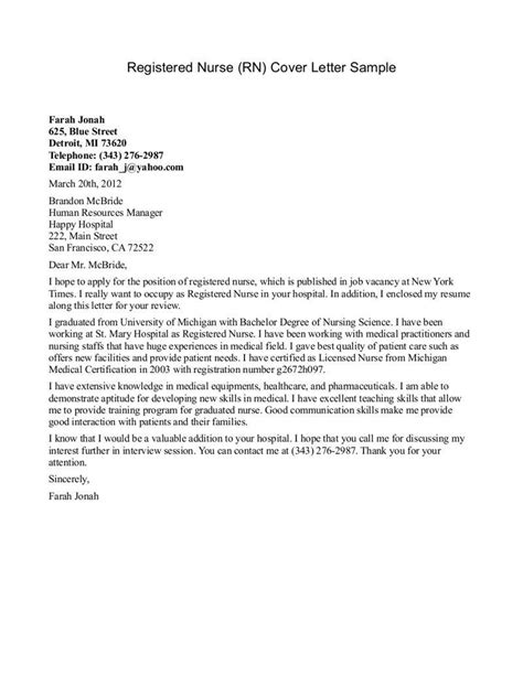 Cover Letter Exles For Registered Nurses new grad cover letter exle nursing cover letter