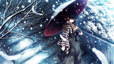 wallpaper anime sad hd snow tree kimono girl alone sad anime blue wallpaper