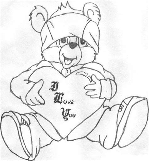 gangster love coloring pages gangsta love bear drawing sketch coloring page