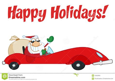 animated santa driving happy holidays greeting with santa driving stock vector image 15552663