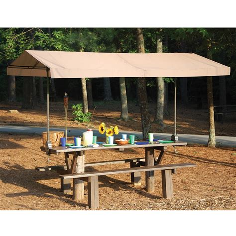 picnic table awning the cl on picnic table canopy hammacher schlemmer