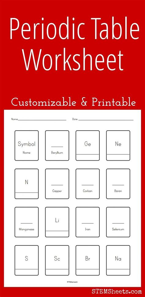 printable periodic table worksheets customizable and printable periodic table worksheet