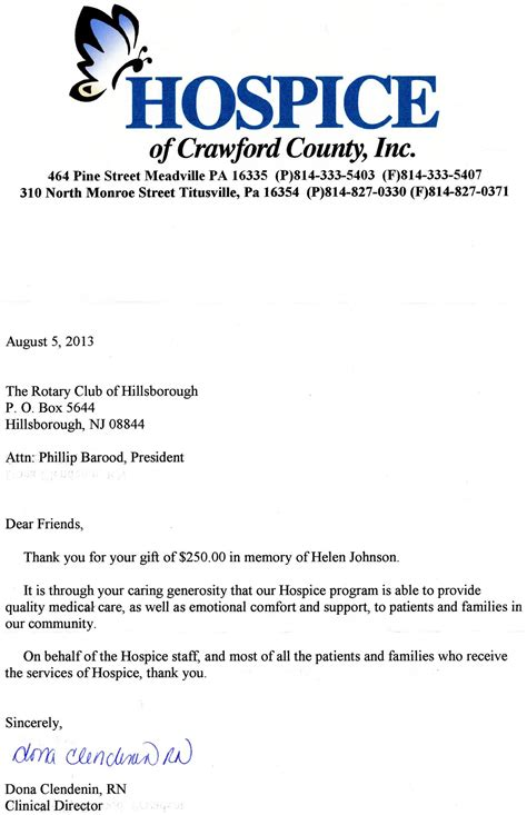 Thank You Letter For Hospice Donation Welcome Rotary Club Of Hillsborough
