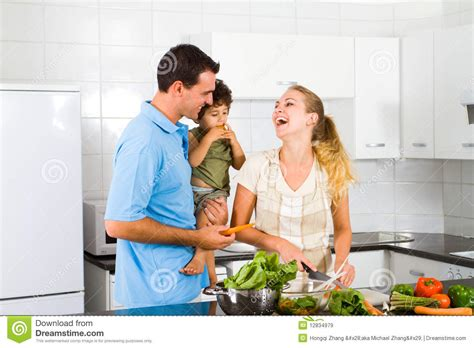 family in kitchen happy family royalty free stock images image 12834979