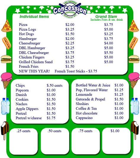 Concession Stand Menu Template by 25 Best Ideas About Concession Stands On