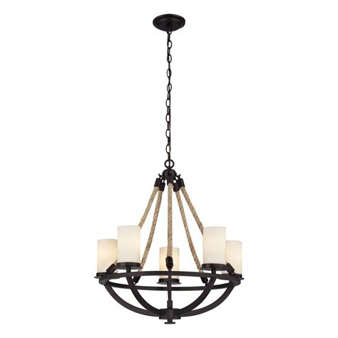 Titan Lighting Natural Rope 5 Light Aged Bronze Chandelier Candle Chandelier Home Depot